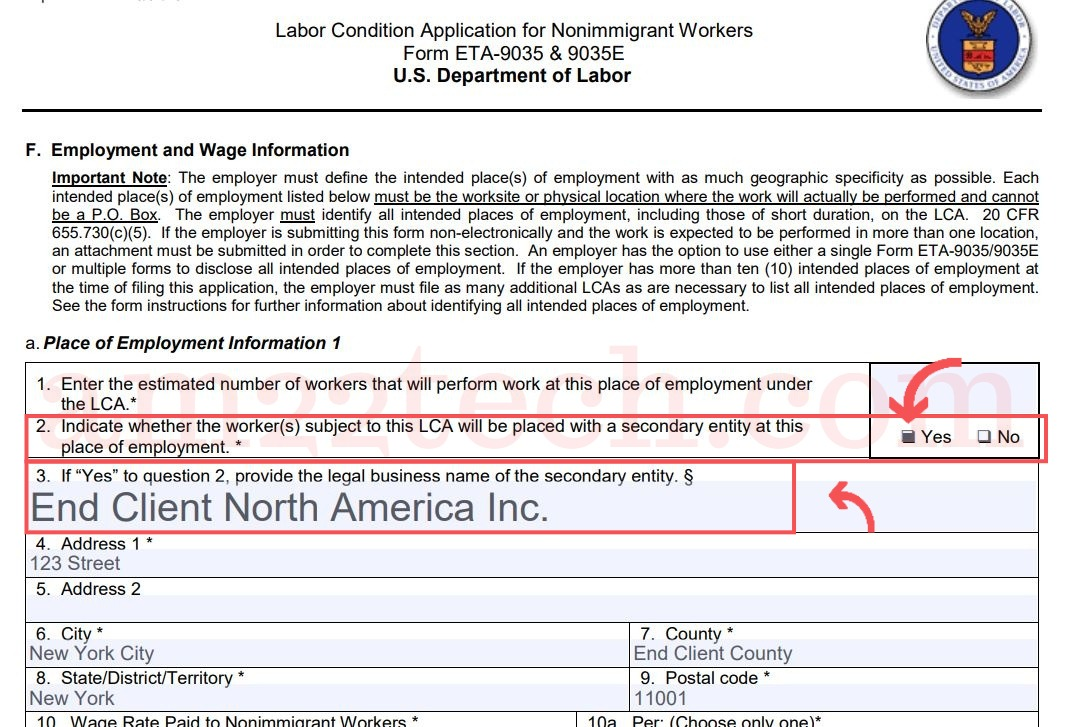 b1 visa application form sample