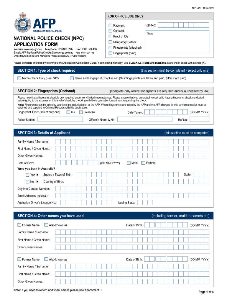 australian police check application form