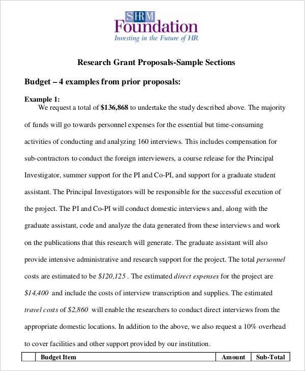 application for research funding example