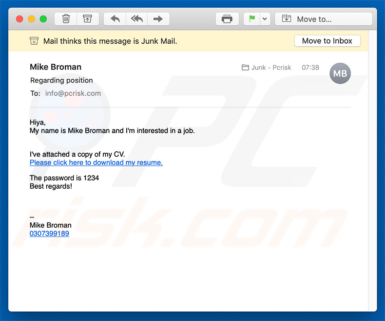 email text for job application