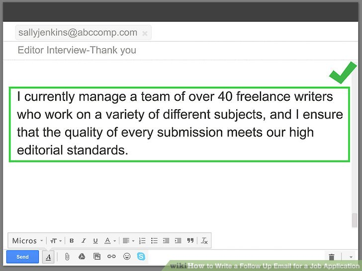 follow up on job application email template
